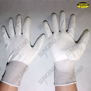 white PU palm coated gloves