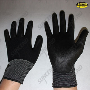 Black pu palm coated work gloves
