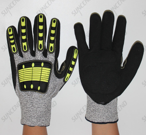 13 Gauge HPPE Liner with TPR Back Knit Safety Gloves for Cut Resistant And Impact Resistant