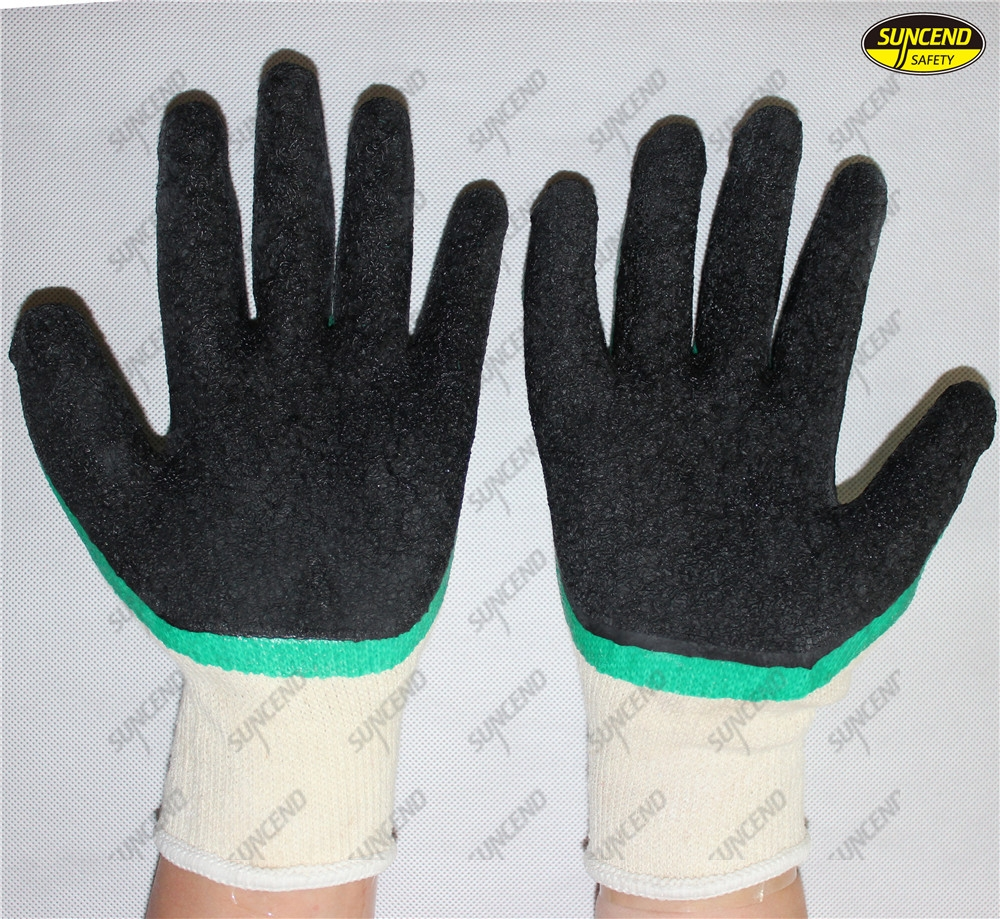 Factory price latex dipped crinkle mechanical work gloves