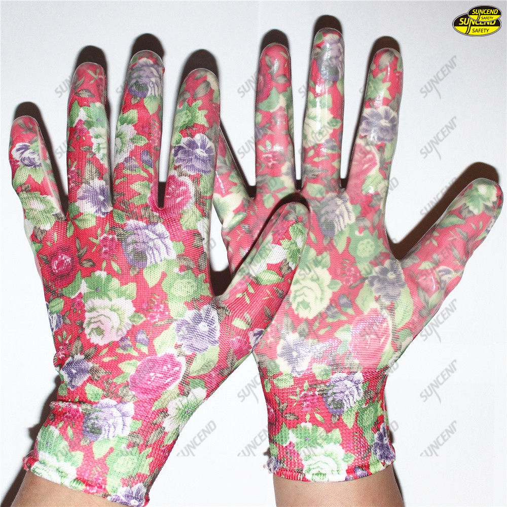 Smooth nitrile palm coated colorful liner safety gloves