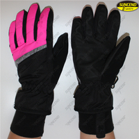 Customized anti slip winter leather water proof outdoor sports ski gloves