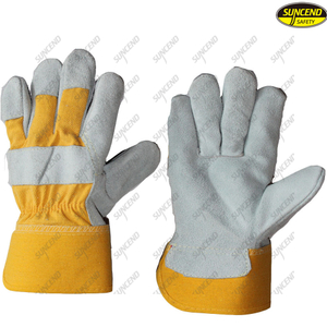 Safety leather cow split jersey liner work gloves