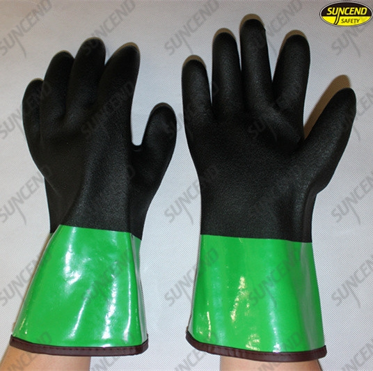 Long cuff warmly working sandy hands PVC coated gloves