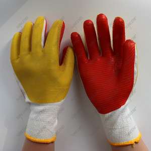 Factory Wholesale Customized Cotton Lined Rubber Palm Construction Glove