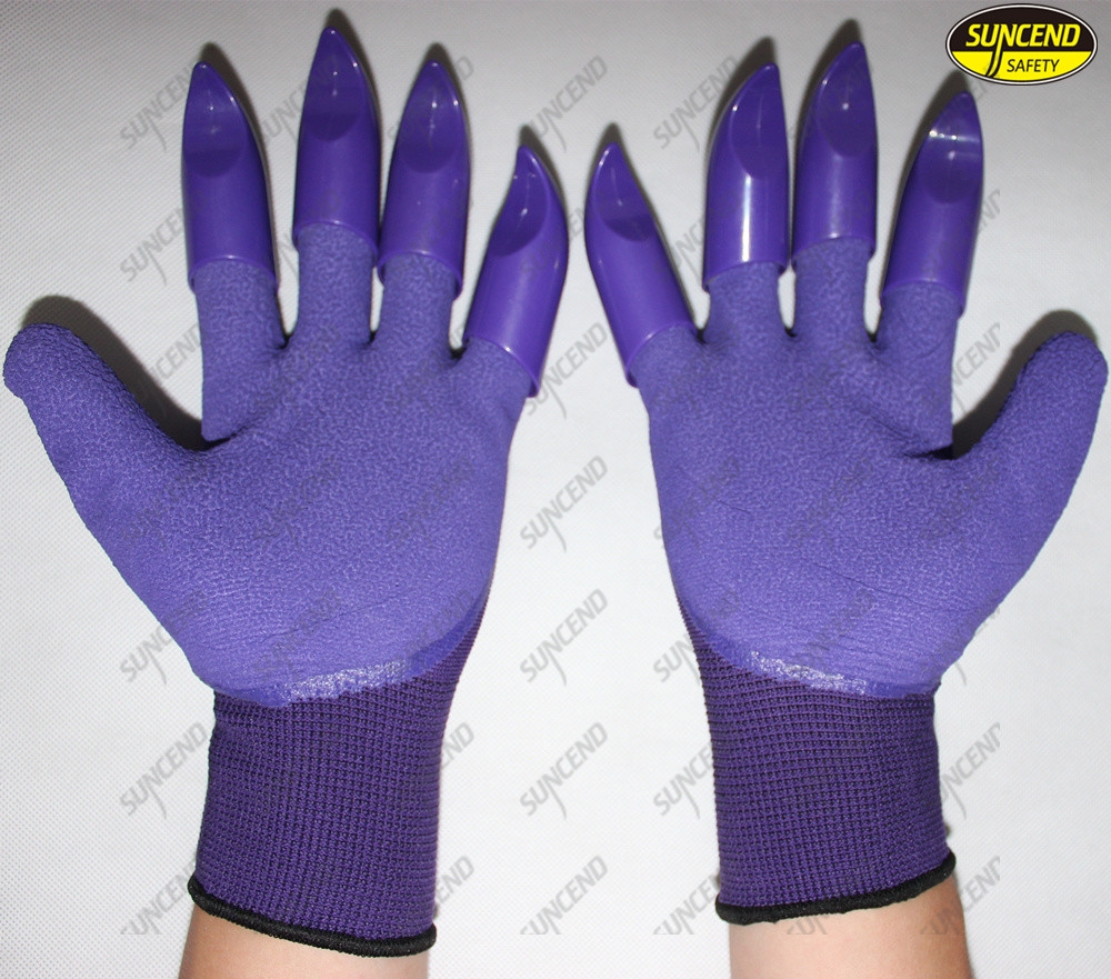 Hand protective ABS claw garden digging gloves