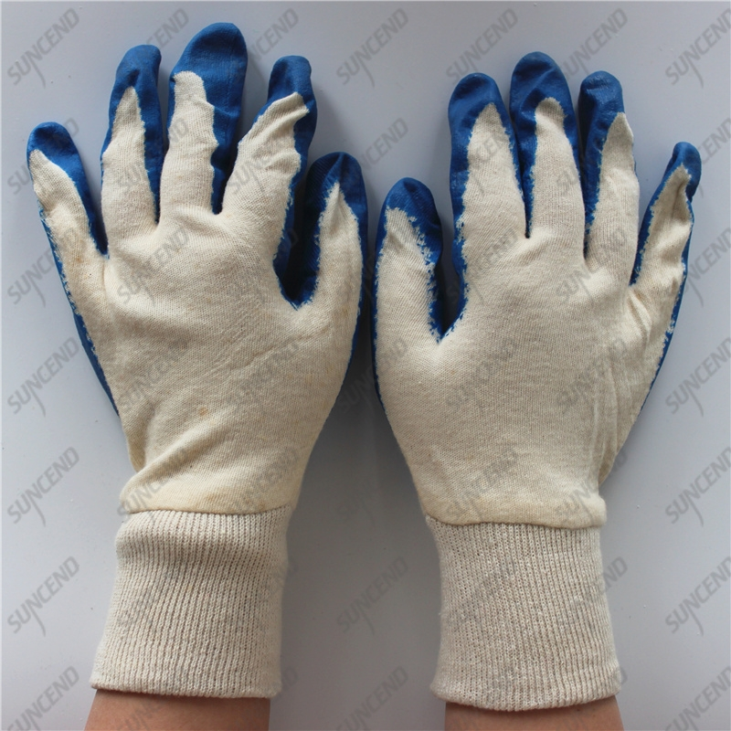 Double seam towelling smooth blue latex dipped work gloves