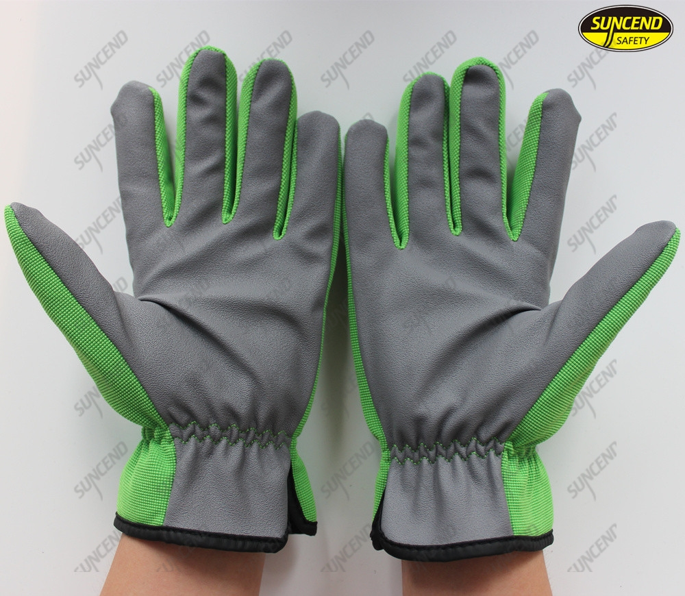 Oil resistant finger reinforced polyester synthetic leather palm safety hand wor