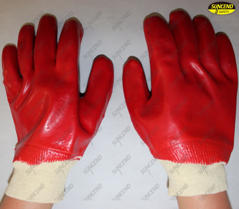 PVC coated knit wrist oil resistant working industrial safety gloves