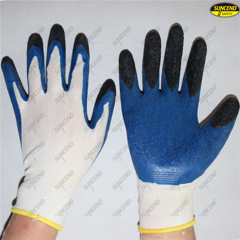 Good grip crinkle double latex dipped safety labor gloves