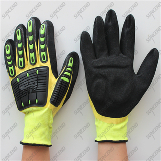 13 gauge polyester waterproof double coating sandy nitrile palm padded TPR glove
