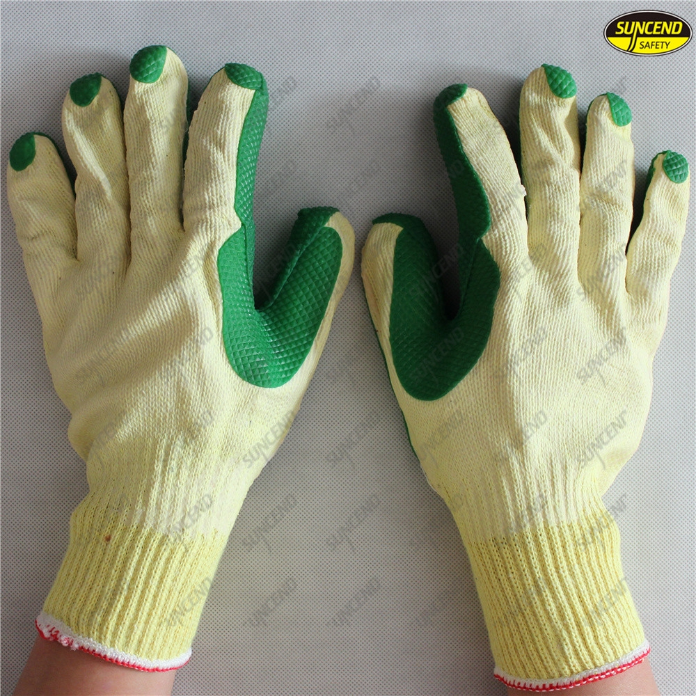 Construction safety hand work grain rubber coated gloves
