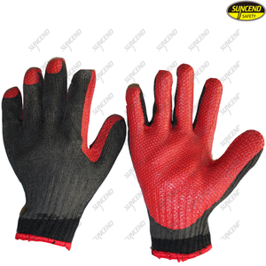 More elastic soft rubber coated 7G polycotton liner working gloves