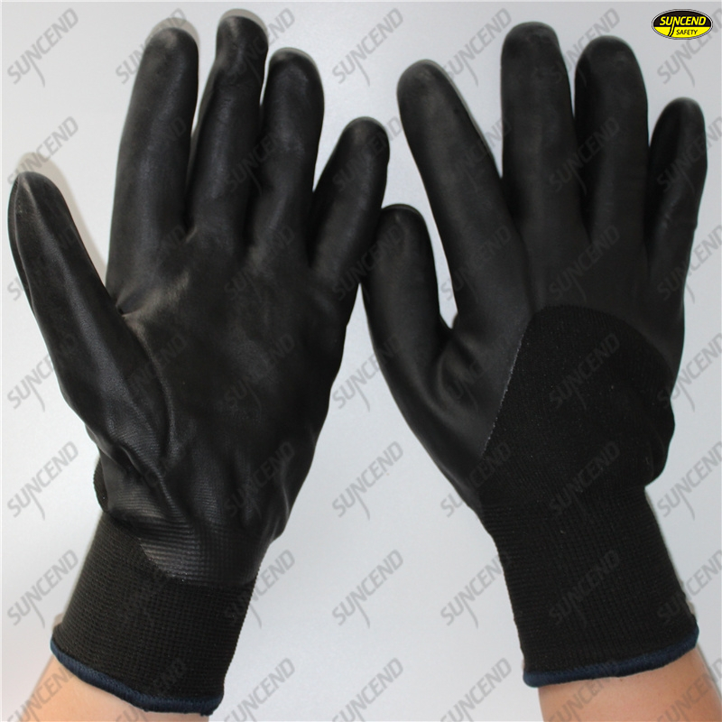 Cold resistant work protective guantes de seguridad warmly soft foam coated nitr