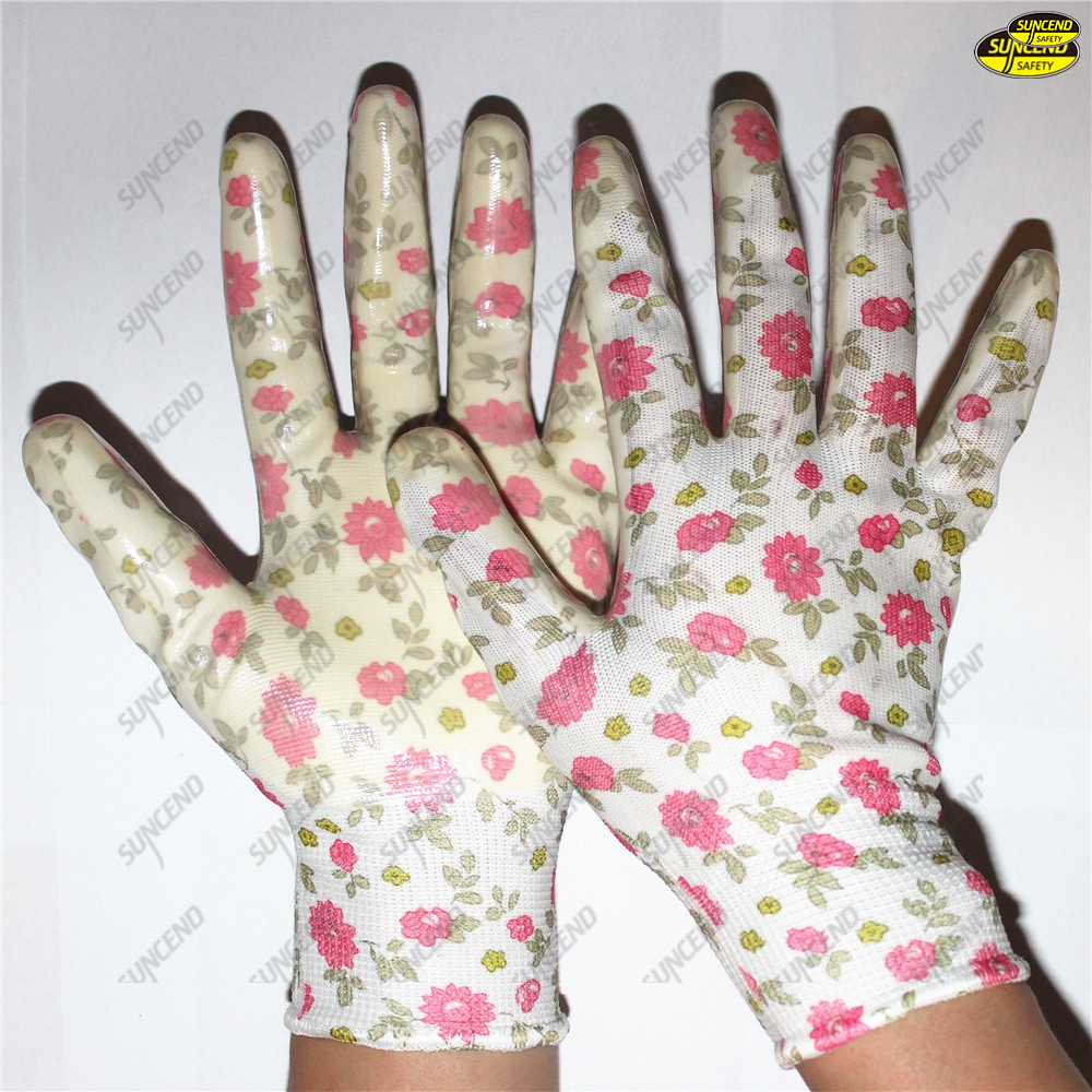 Palm nitrile smooth polyester liner safe hand gloves