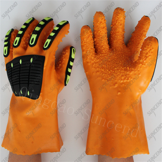 TPR on back anti acid alkali full coated rough finish PVC work gloves