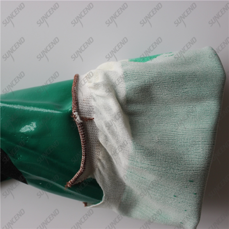 Nylon lining palm reinforced double coated smooth sandy nitrile long work gloves