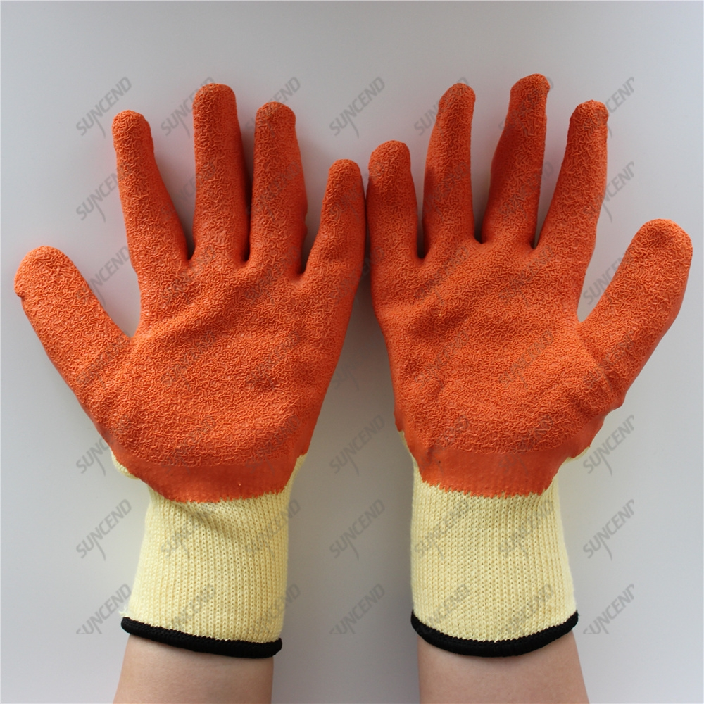 Yellow yarn polyester crinkle palm latex construction working winter gloves