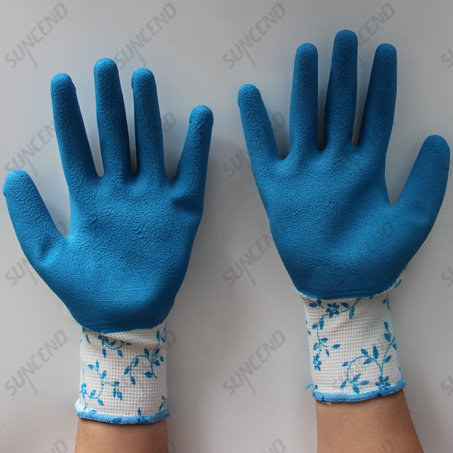 Seamless Polyester/nylon Liner Latex Coated Foam Finish Safety Gloves