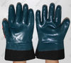 Blue Nitrile Fully Coated Oil Industry Work Glove with Safety Cuff And TPR