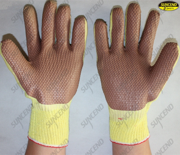 Grain rubber coated safety working machinist gloves