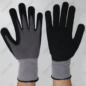 Nylon Liner Seamless Knitting Nitrile Coated Sandy Finish Safety Gloves