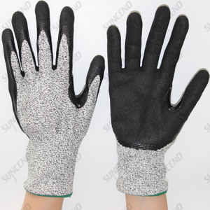 HPPE Liner Palm Coated Reinforced between Thumb And Index Finger Work Gloves