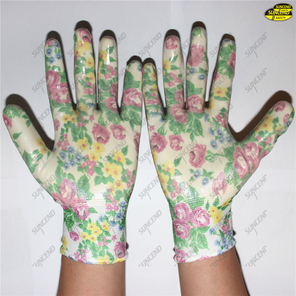 Wholesale smooth nitrile coated colorful liner gloves
