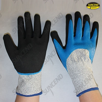 HPPE liner double dipped nitrile coating cut resistant gloves