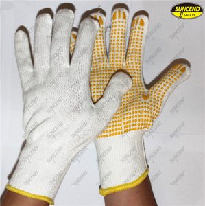 Safety pvc dotted cheap knitted cotton gloves