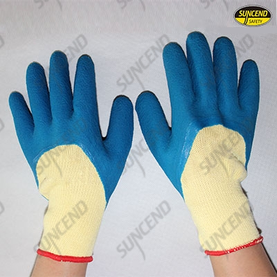 Polycotton liner foam latex 3/4 latex coated work gloves