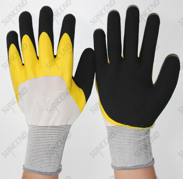 Best Popular Color Safety Glove with Yellow Latex Double Dipped Foam Finish