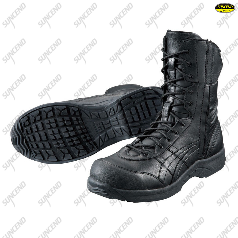 High cut waterproof genuine cow black leather safety boots