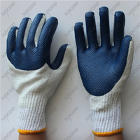 Back palm double pieces grain texture blue rubber gloves for Brazil