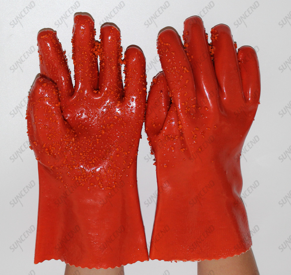 Granule on Palm Extra Grip PVC Dipped Work Gloves With Cotton Lined