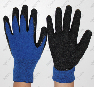 100% Polyester Winter Gloves with Latex Crinkle Finish on Palm