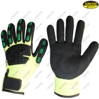 TPR coating shockproof anti impact heavy duty oilfield gloves