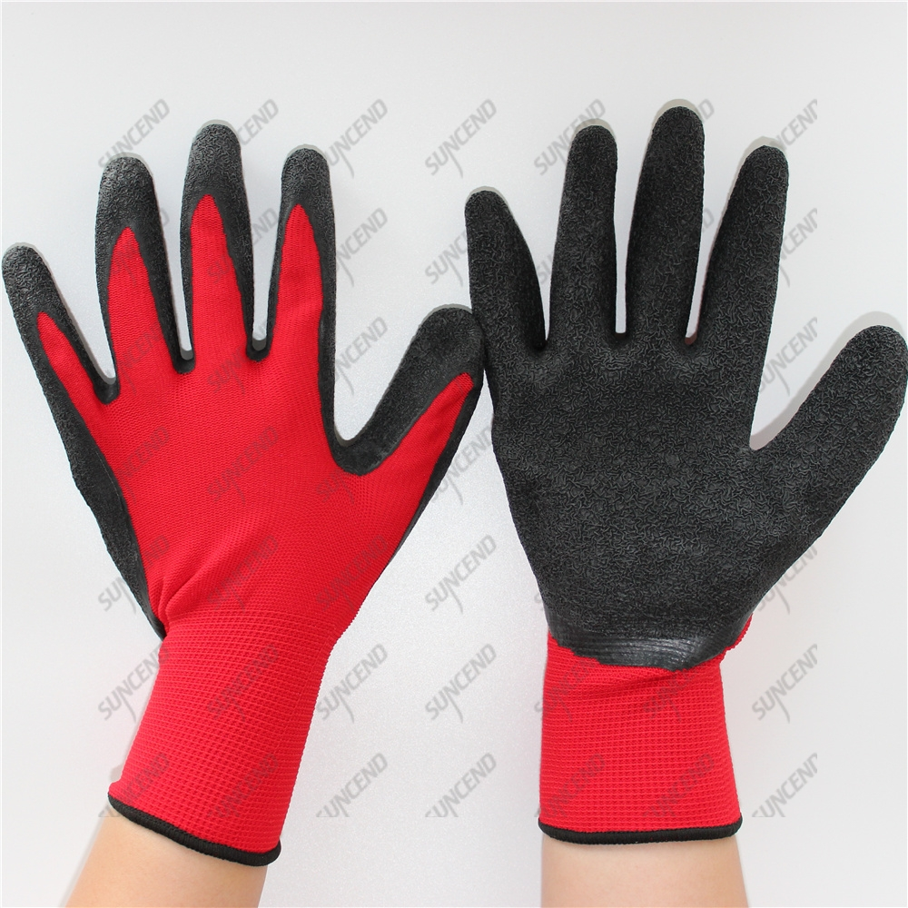 13 Gauge Polyester Knitted Crinkle Latex Rubber Coated Work Safety Gloves for C