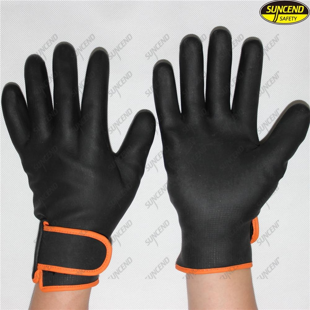 Foam nitrile full coated oil resistant gloves with hasp