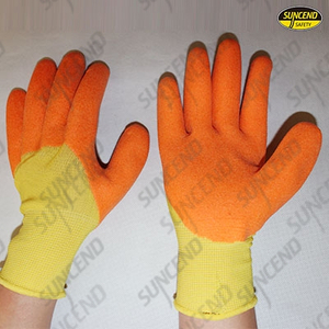 Nylon/polyester liner foam PVC 3/4 coated work gloves