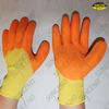 Orange pvc coated jersey liner winter work gloves